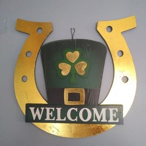 St Patricks Day Welcome Sign Green&Gold Horseshoe